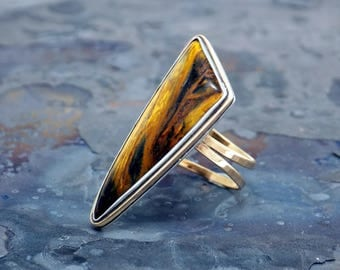 Tigers Eye 14K Gold Fill and Sterling Silver Women's Ring by Navillus Metal Works: Modern, Unique, Simple, Clean, One of a Kind