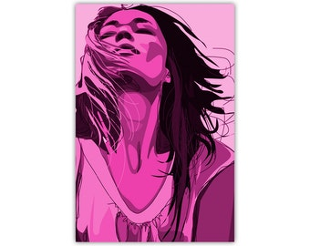 Pink Art, Woman Illustration, Canvas Print, Large Poster, Modern Art