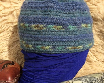 100% wool Icelandic Hat Nalbinded Naalbinded Nalbinding Hat Sea blues made with a single bone needle
