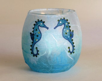 Seahorse candle holder - small tealight votive - pretty hand painted seahorses on turquoise and aqua strawsilk - made in devon by Karen Keir