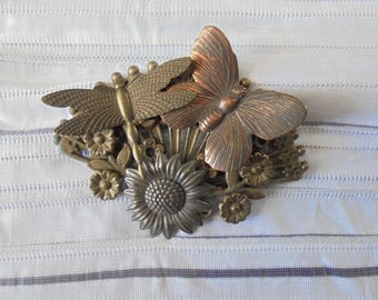 Vintage Butterfly and Flowers Brooch