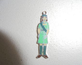 Vintage Enamled Sterling Silver Girl Scout Charm