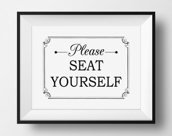 Funny Bathroom Art, Please Seat Yourself, Bathroom Printable, Funny Bathroom Sign, Water Closet Wall Art, Funny Toilet Sign, Witty Bathroom