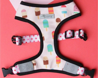 Reversible cute puppy dog harness with ice cream popsicle and dumpling yum cha print. 2-in-1 dog harness! Dumpling chinese food ice cream