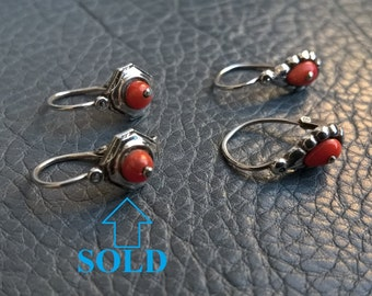 1900's Antique Edwardian Hallmarked Silver Red Orange Coral Dangle VERY Small Earrings