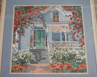 Red Rose Cottage vintage cross stitch kit, Bucilla counted cross stitch from Kooler Design Studio designed by Erin Dertner