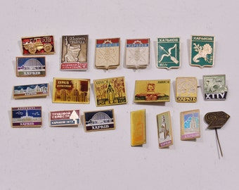 Set Badges Pins World Cities Kharkiv Ukraine Art Collection Memorabilia Souvenirs
