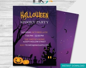 Halloween Spooky Party - Invitations - Instant Download - Edit Yourself - Halloween Party - Halloween Invitations
