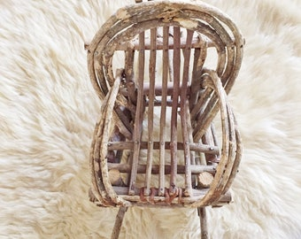 Vintage Bent Willow Doll Rocker // Garden or Air Plant Rocking Chair Stand