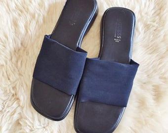 S A L E Vintage Guess Navy Blue Slides // Ladies 38 7.5