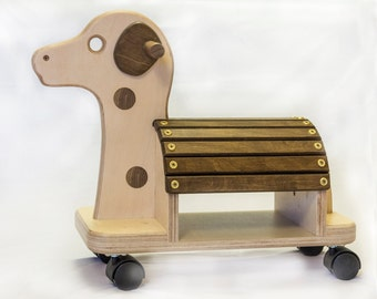 SALE --  Child's wooden ride-on toy dog