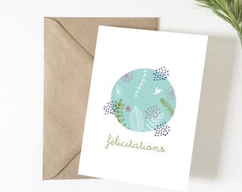 Card congratulations, greeting card, illustration, summer, tropical, card wedding card birth, stationery, exotic, flowers, pregnancy