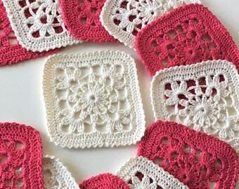 Square drink Coasters Crochet Set of six coasters fuchsia or white  Home decor Housewarming gift