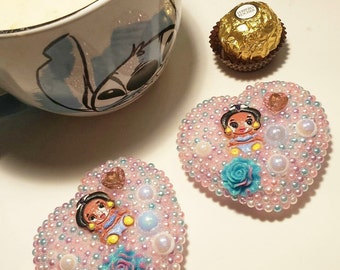 Kawaii Disney Jasmine Heart Compact Mirrior