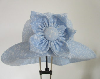 Baby's Sun Hat, blue, detatchable flower brooch