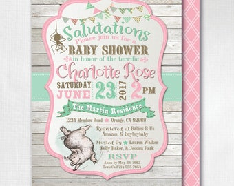 Printed Charlotte's Web Baby Shower Invitations, Vintage Charlotte's Web, Charlotte's Web Shower, Girl Baby Shower Invitation, DI-4536FC