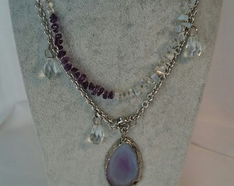 Mala Amethyst necklace with rock crystal, agate, Moonstone. Gift idea