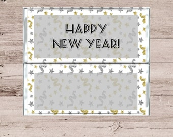 Happy New Year Chocolate Wrapper-Happy New Year Candy Bar Wrapper-New Year Candy Wrapper-Confetti Background Chocolate Wrapper-Party Favor