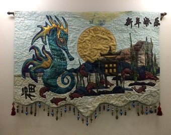 Chinese New Year Sea Dragon Art Quilt