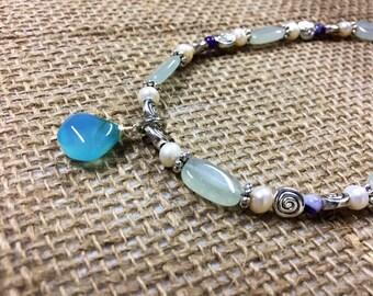 Sea glass pearl necklace