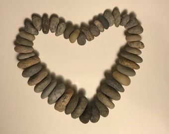 A Heart of Beach Rocks - Natural Sculpture From Cape Cod (#126)