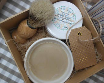 Shaving Gift Box. Goats milk 100% natural essential oil shaving soap in a bowl, post shave luxury organic moisturiser and a shaving brush.
