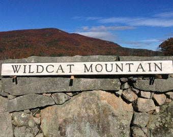 Wildcat Mountain sign, rustic, vintage appearance