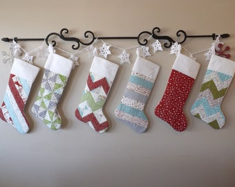 Quilted Christmas Stockings set of 6