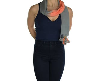 Grey Orange  Pom Pom Scarf Shawl Wrap Pashmina - Handmade - Ladies Scarves