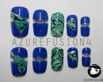 Blue, Silver, Green Marble, Negative Space False Nails