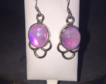 Pink moonstone earrings in silver