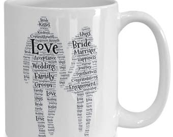 ENGAGED! MARRIED!! BRIDE!! Celebrate your engagement or wedding with this beautiful 15 oz white ceramic coffee cup! Customizeable!