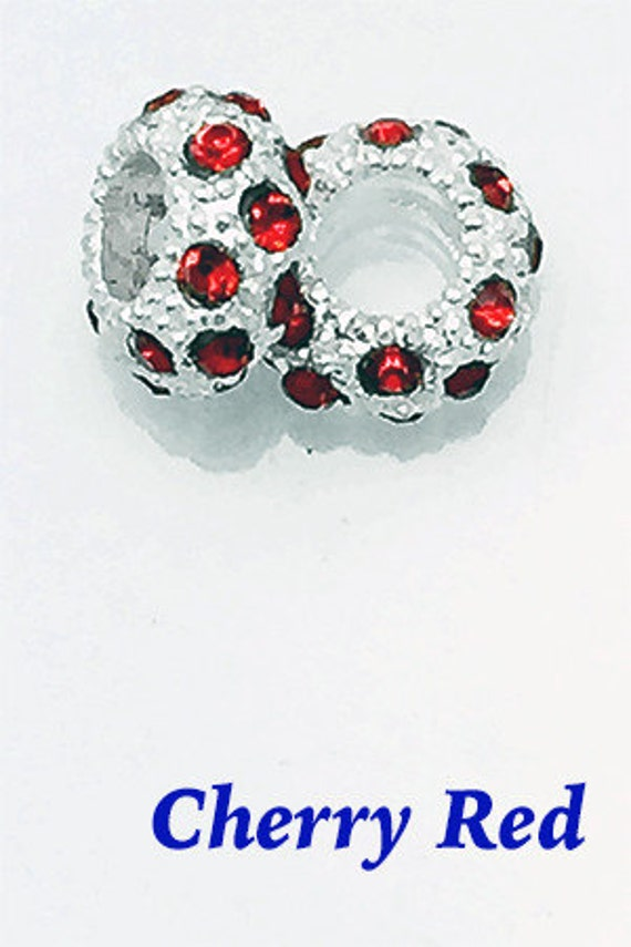 RhinestoneCrystalSpacer Beads, Cherry Red, 4 pcs **99cent Shipping -FREE 10+**