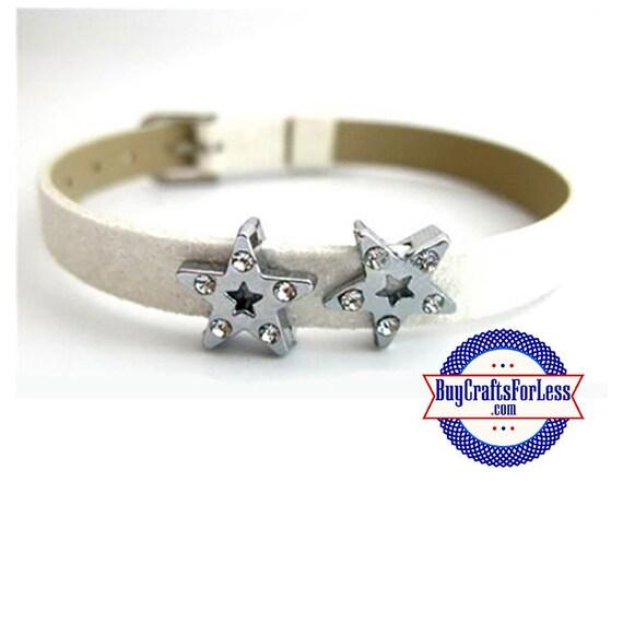 Rhinestone STAR for 8mm SLIDE Bracelets, Collars, Key Rings, Napkin Rings  +FREE Shipping & Discounts*