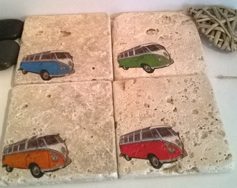 VW Camper Natural Travertine Stone Coasters