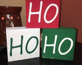 Ho ho ho wooden blocks, christmas blocks, holiday decor, block decor