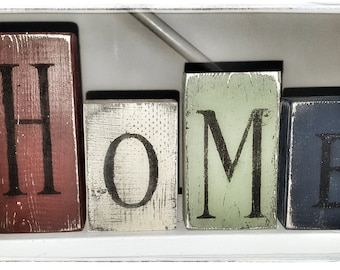 4pc. Wooden Home Block Set-Farmhouse-Farmhouse Decor-wooden block set-primitive decor-primitive-home decor-primitive block set