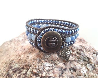 3 Row Leather Wrap Cuff Bracelet with Blue Beads