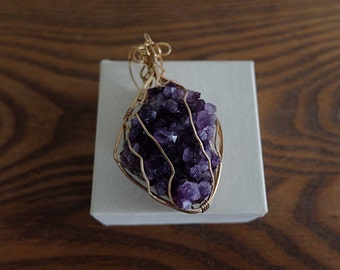 Amethyst Wirewrapped Raw Cluster Pendant