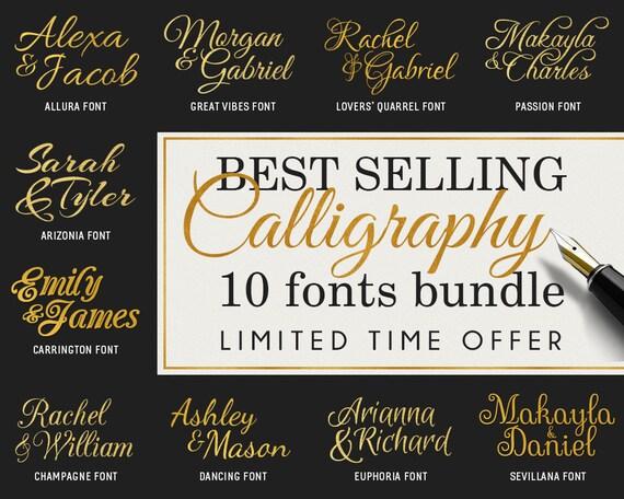 Cursive fonts svg calligraphy bundle scripts