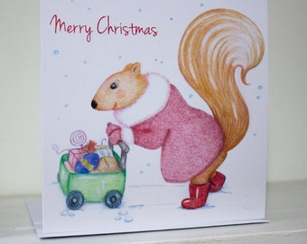 Last Minute Christmas Shopping Squirrel Card