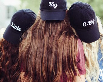 Big + Little + GBig Embroidered Hats / Greek, Sorority, Chapter / Dad Hat