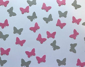 Pink and Grey Butterfly Confetti - Butterfly Party Decorations - Garden Party Decorations - Butterfly Decorations - Pink and Grey Decoration