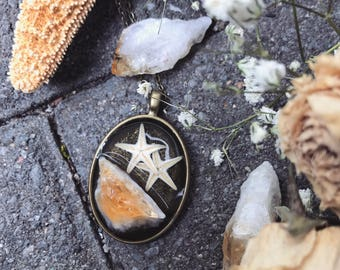 Real baby starfish and citrine necklace