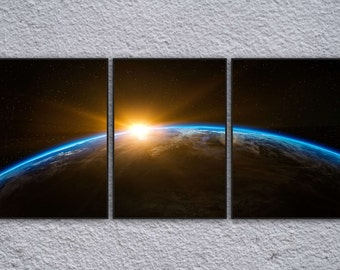 3 Panel Space Planet Earth Framed Prints