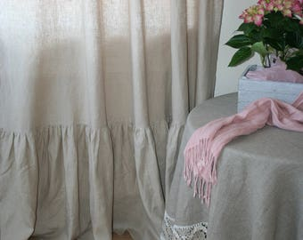 Linen Tablecloth with lace, Natural linen tablecloth