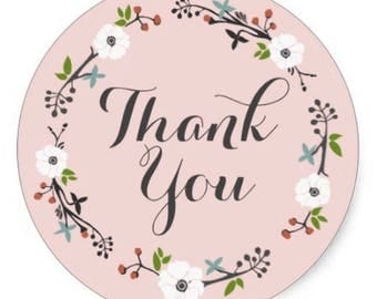 "24 PCS ""Thank You"" Pink Floral Sticker, Seals, Scrapbook Supplies, Stationary, Paper, Paper Stickers, Stickers, Paper Supplies"