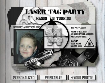 Laser Tag Birthday Invitation, Thank You Postcards, Set, Your Photo, Any Age, Thank You, Laser Tag, Birthday, Printable, Camouflage