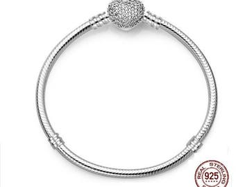 Luxury Pave Heart Clasp Bracelet, 100% Real 925 Sterling Silver, Fits Pandora Large Hole Charms, Snake Chain 3mm Bracelet, DIY Fashion.