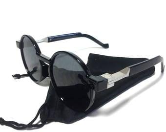 Oversized 90s Tinted Flat Lens Round Frame Sun Glasses